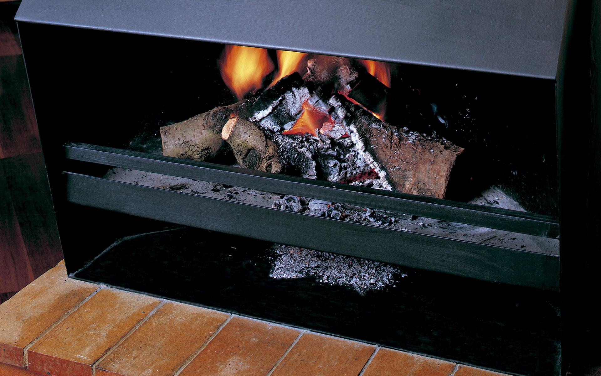 Chimenea BETA. Detalle de la leña quemando