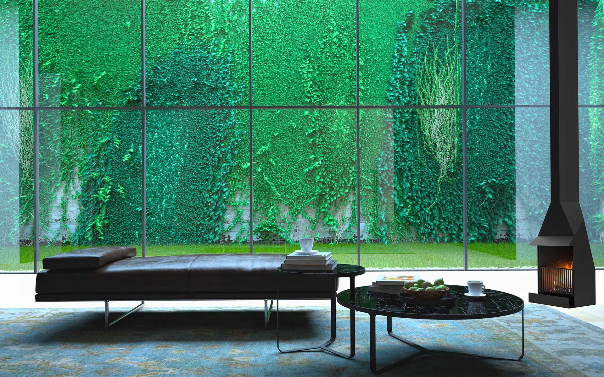Chimenea Capilla suspendida en salón con ventanal al jardín