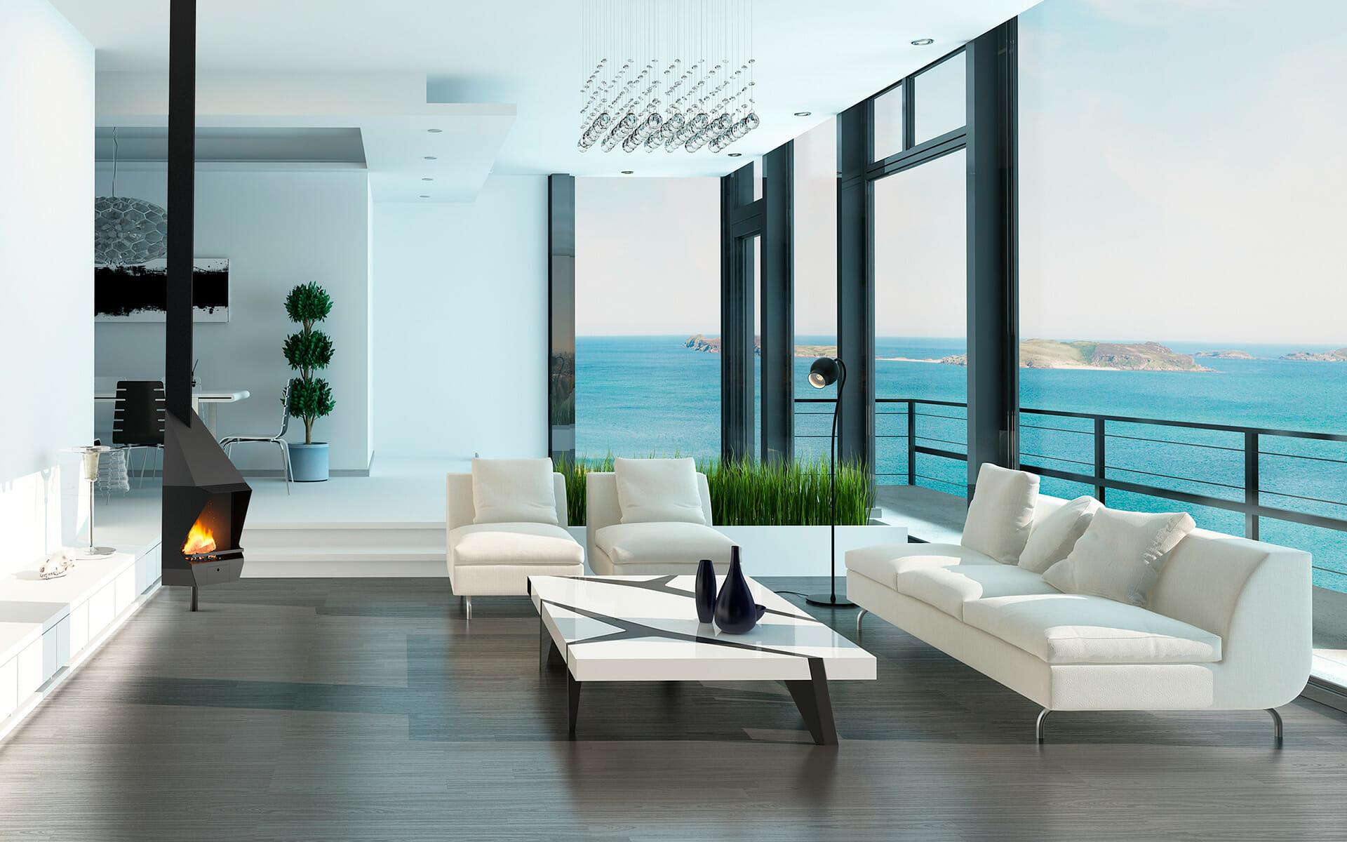 Chimenea Cerdanya en salón con vistas al mar