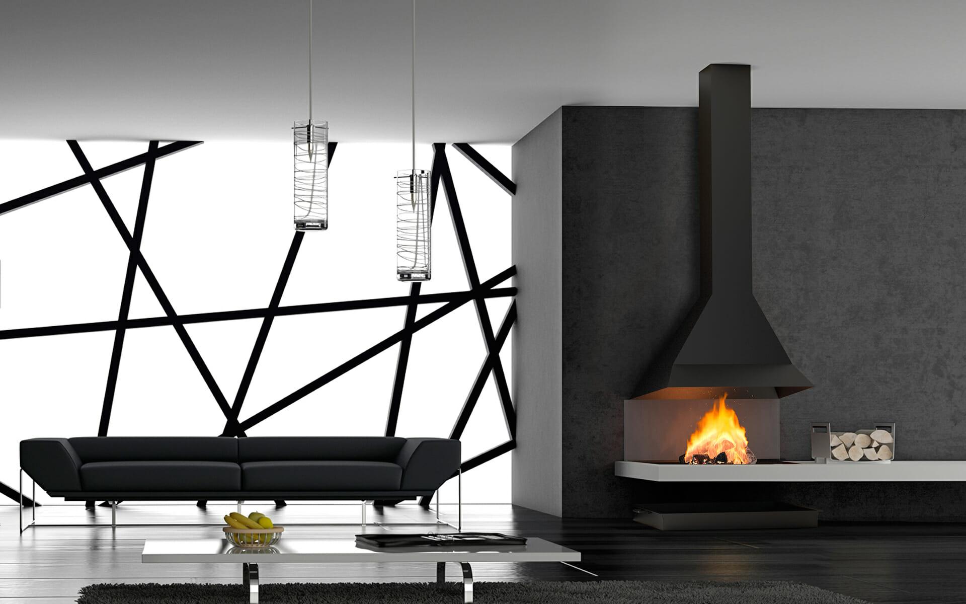 Chimenea Polo P en salón de diseño moderno