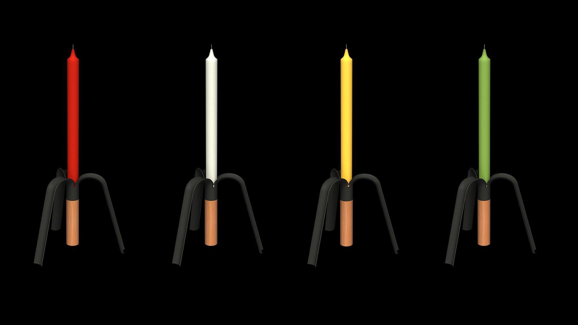 Candelabro BANANA RAL9004 varias velas fondo negro
