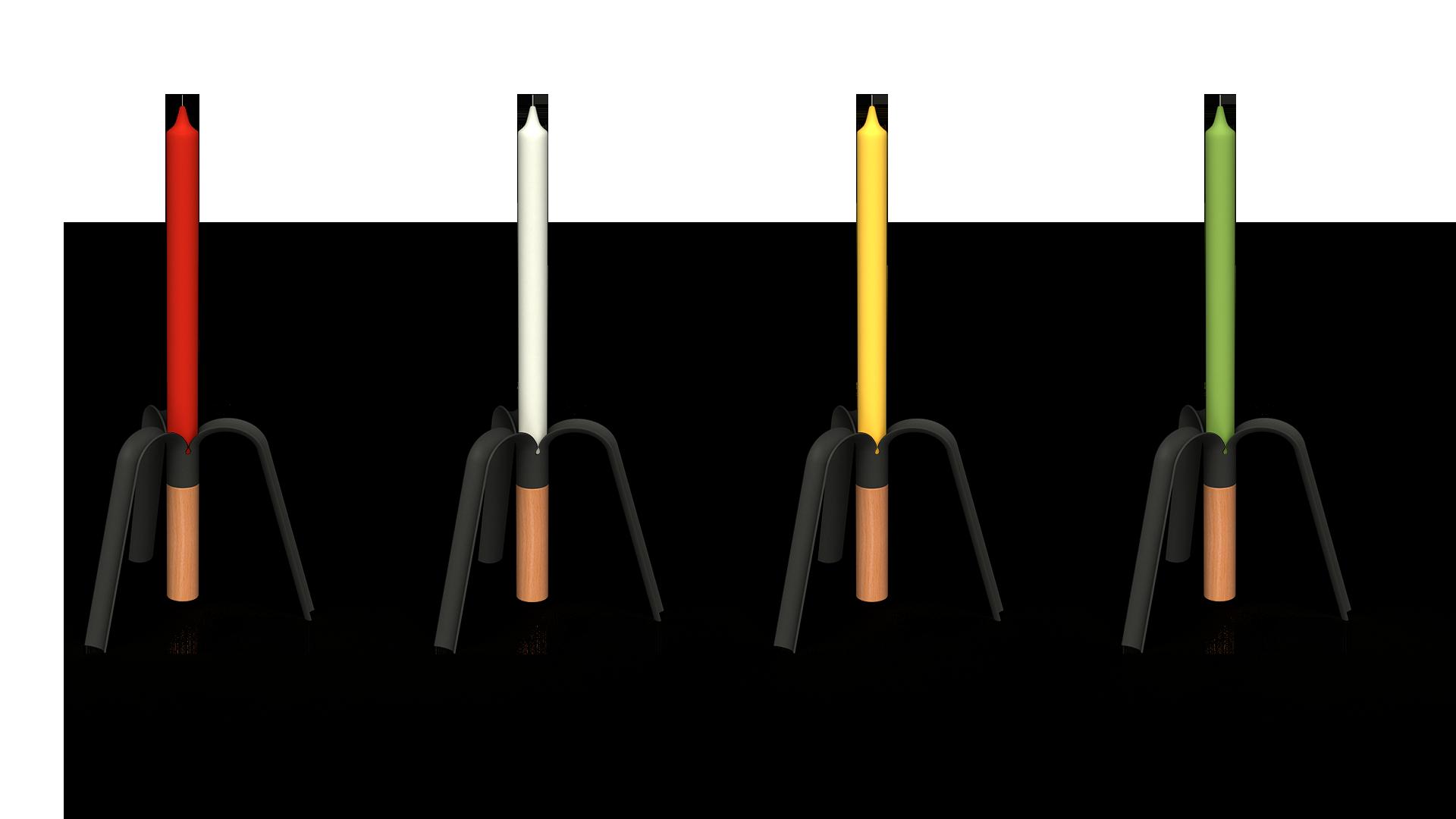 Candelabro BANANA RAL9004 varias velas
