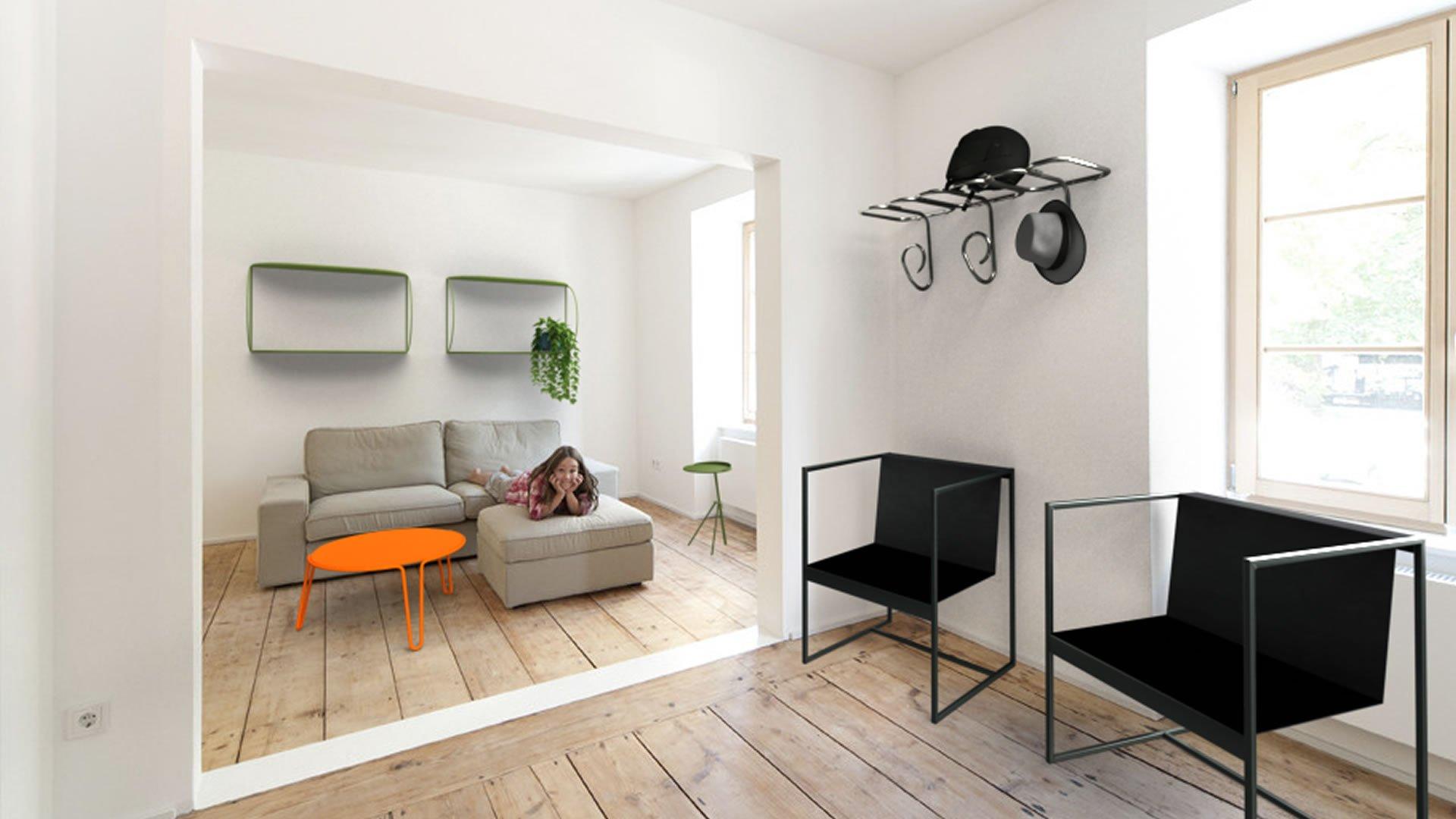 Estanteria WARE 2 en sala de estar con mesa LAVENDER B, perchero GERMAINE y sillas MSB