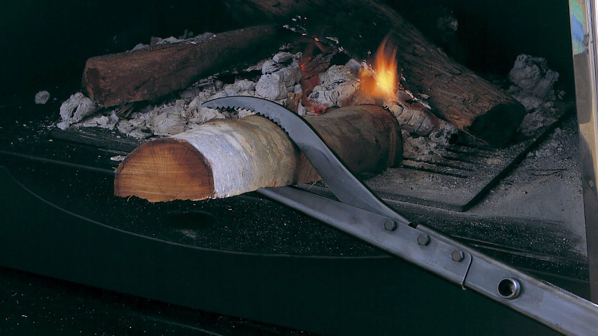 Pinza Eina sujetando tronco ardiendo