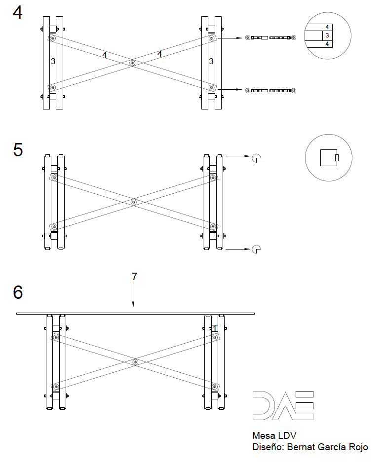 Instrucciones de montaje 1 mesa LDV
