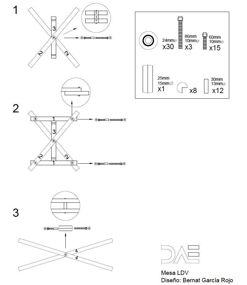 Instrucciones de montaje 2 Mesa LDV